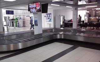 The baggage claim area in terminal 1 of the airport Arkhangelsk Talagi