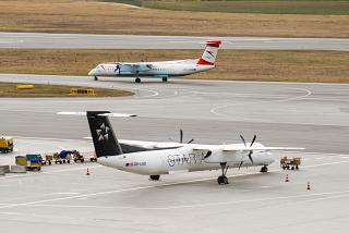 The Bombardier Dash 8 Q400 planes of Austrian Airlines at Vienna airport