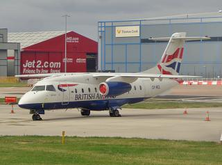 The plane Dornier Do-328jet OY-NCL airlines Sun-Air at the airport of Manchester