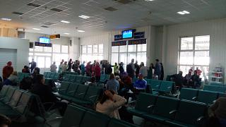 The waiting room in a clean area of terminal B at the airport Simferopol