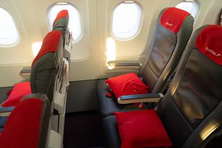 The passenger seats in the Airbus A321 Austrian airlines
