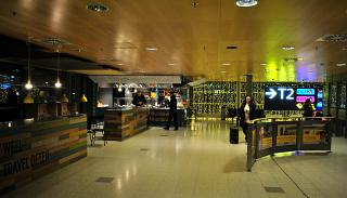 Cafe in the transition between T1 and T2 Helsinki airport Vantaa