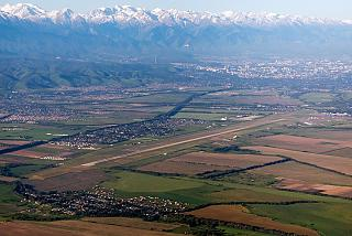 The airport and the city of Almaty