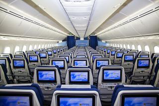 The passenger cabin of Uzbekistan Airways Boeing-787-8 Dreamliner