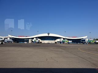 View of the Almaty airport from the window of the plane