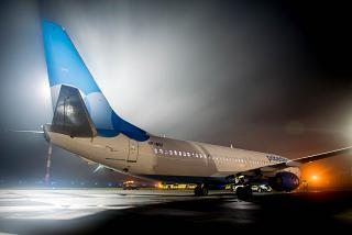 "Boeing 737-800 of the airline ""Pobeda"" in the fog at Omsk Airport"