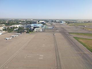 View of the Almaty airport when approaching