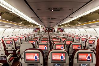 Общий вид салона экономического класса Airbus А330-300 Hainan Airlines