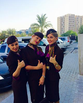 Flight attendants on Etihad Airways