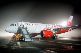 Airbus A319 of Rossiya Airlines in fog at Omsk Airport