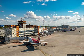 Passenger apron nearby the terminal of Ufa airport