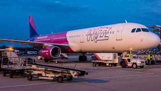 The Airbus A321 of the airline WIZZAIR at Vilnius airport