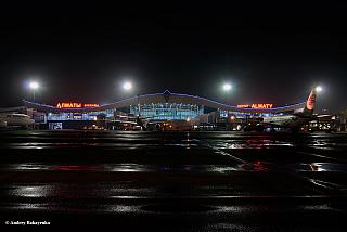 View of the passenger terminal of Almaty airport from the apron