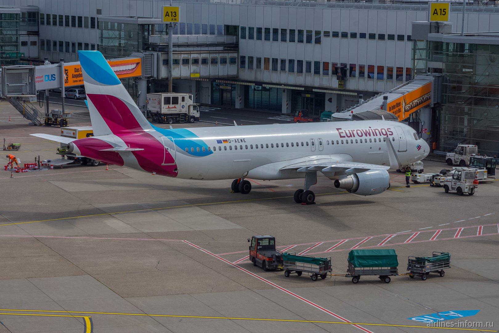 Airbus A320 авиакомпании Eurowings в аэропорту Дюссельдорфа