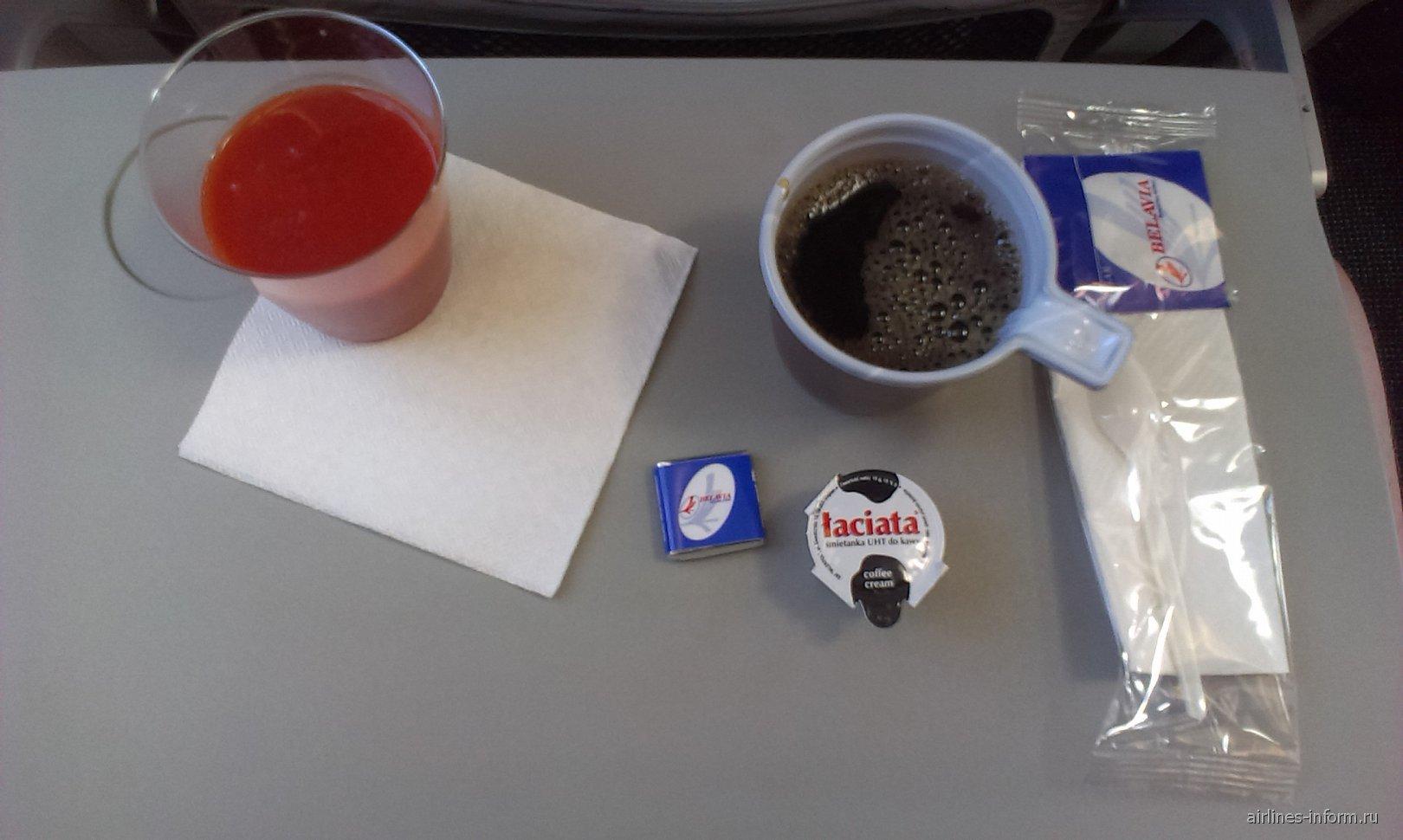 Напитки на рейсе авиакомпании Белавиа  СПБ-Минск