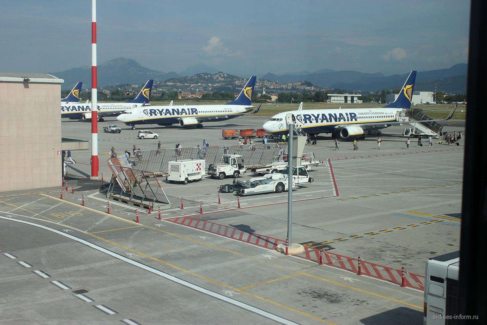 Самолеты Ryanair на перроне аэропорта Милан Бергамо