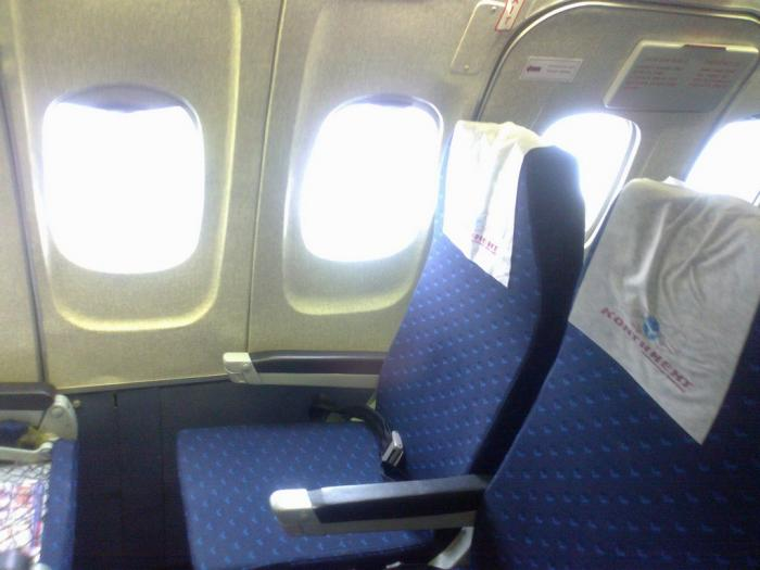 The seats of Tu-154 economy cabin