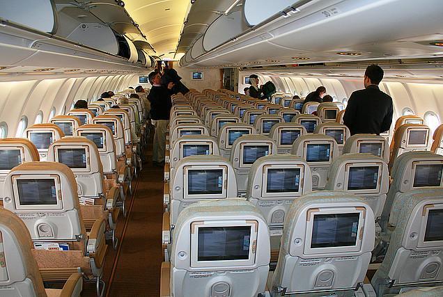 Passenger cabin of Airbus A340-300 Etihad Airways