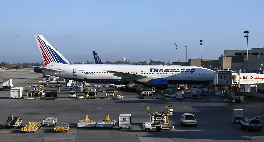 Boeing 777-200 of Transaero Airlines in the Los Angeles International Airport