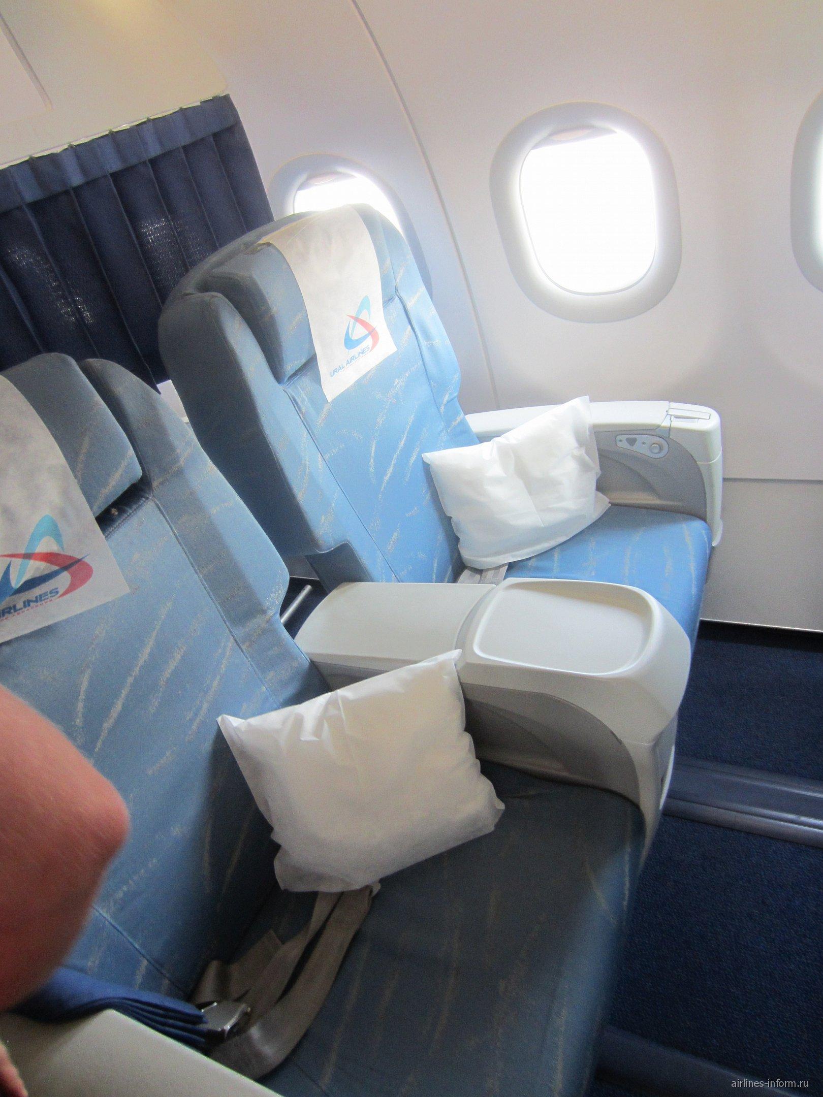 Бизнес-класс в самолете Эрбас А-320 Уральских авиалиний