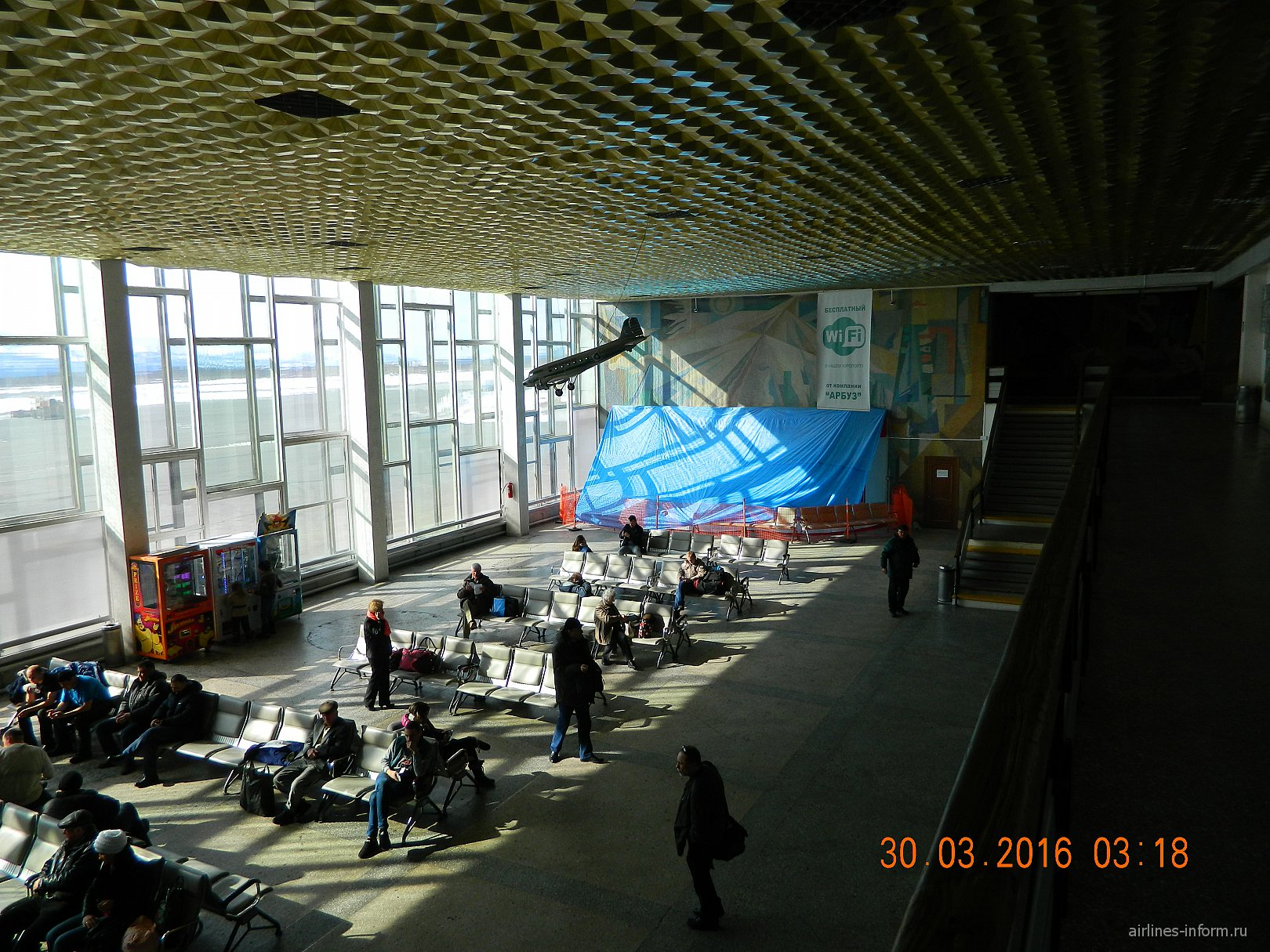 Зал ожидания в аэропорту Магадан Сокол