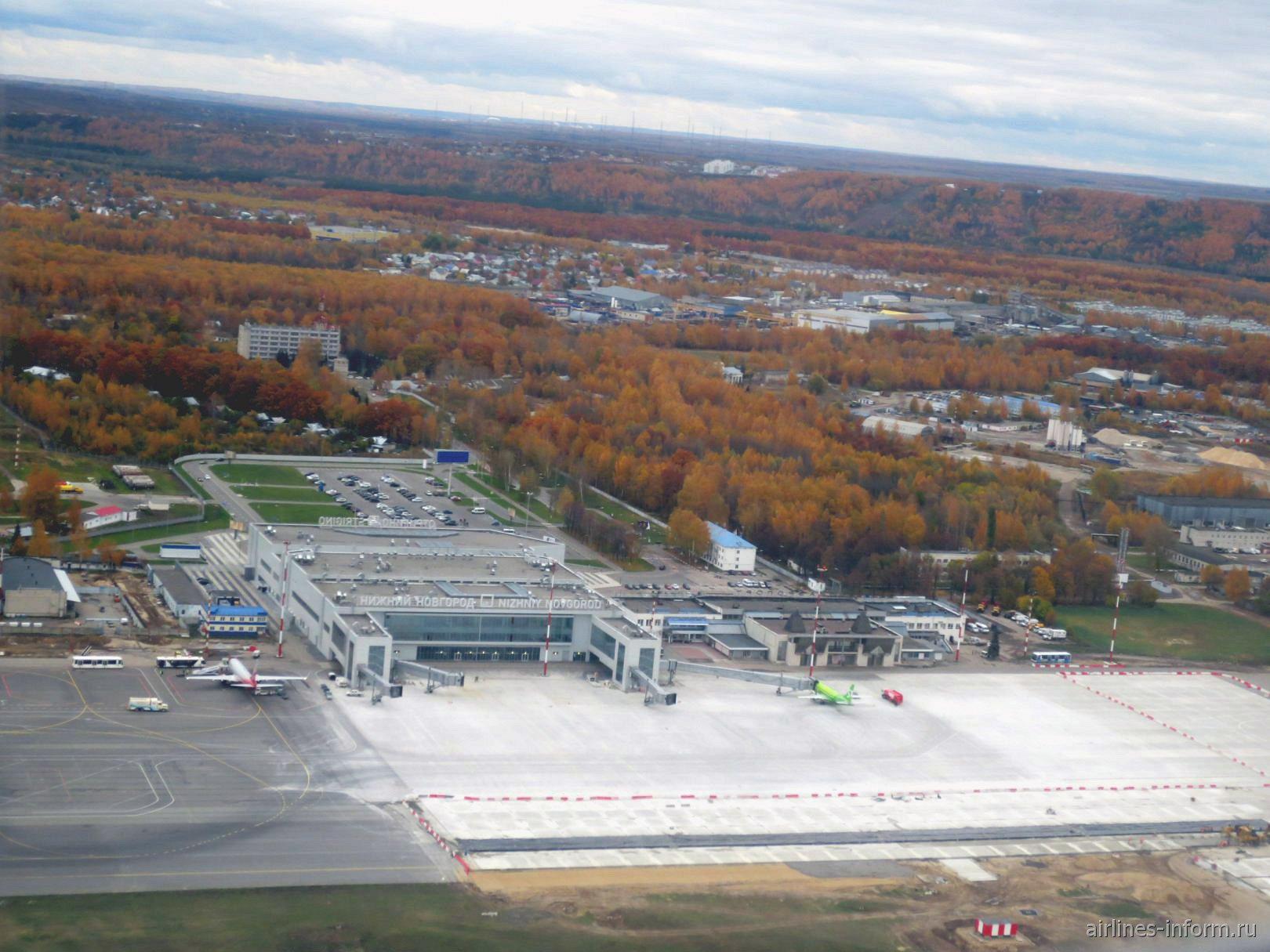 Вид при взлете на аэропорт Нижний Новгород Стригино