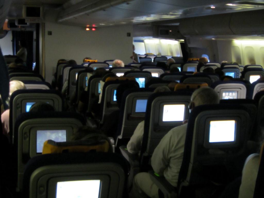 Салон самолета Боинг-747-400 авиакомпании Люфтганза