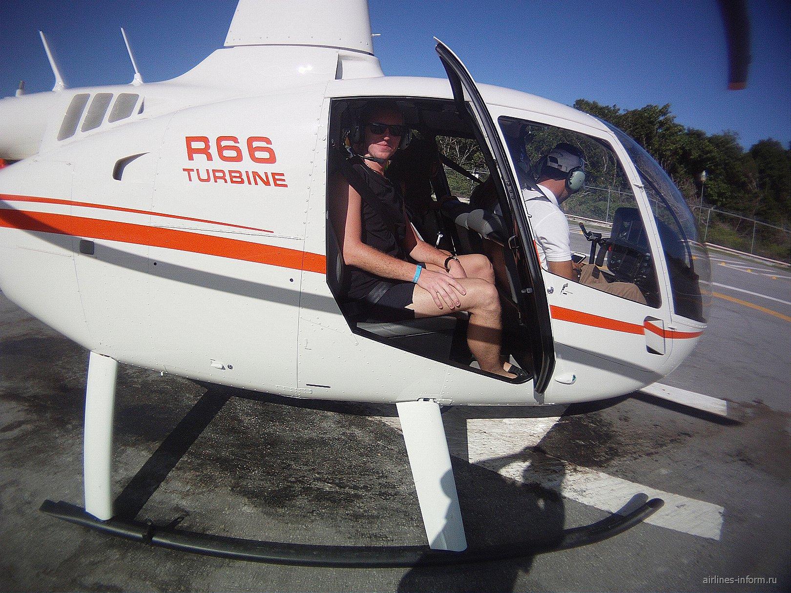 Полёт над доминиканским городом Баваро на вертолёте.