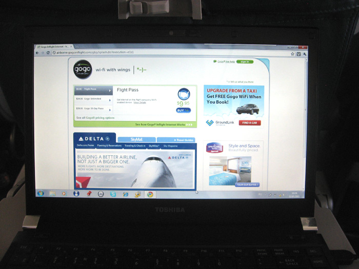 Onboard Wi-Fi at Boeing 737-800 of Delta Air Lines