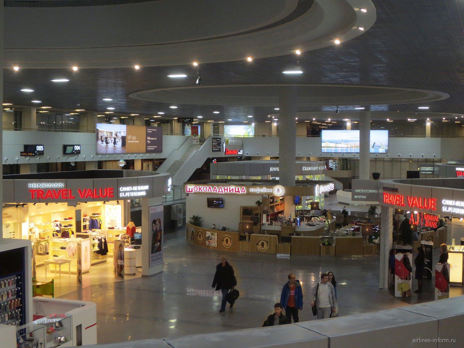 Кафе и магазины в обновленном терминале Пулково-1