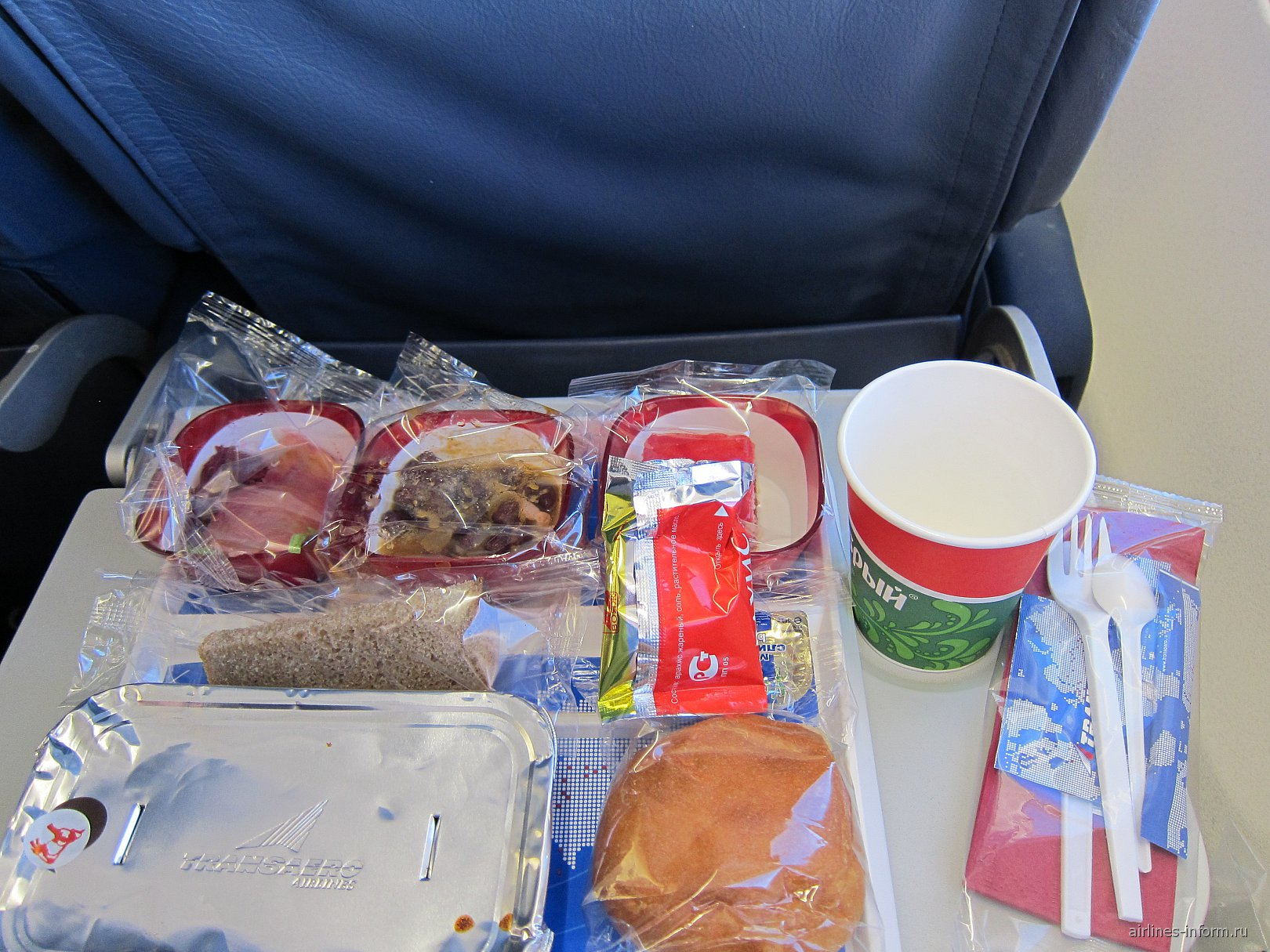 Питание на рейсе Москва-Франкфурт авиакомпании Трансаэро