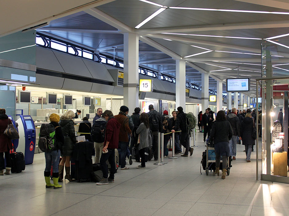 The check-in area at Berlin Tegel Airport