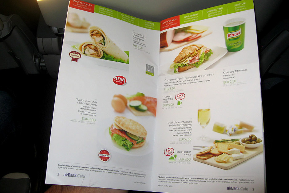 Meal on an airBaltic flight