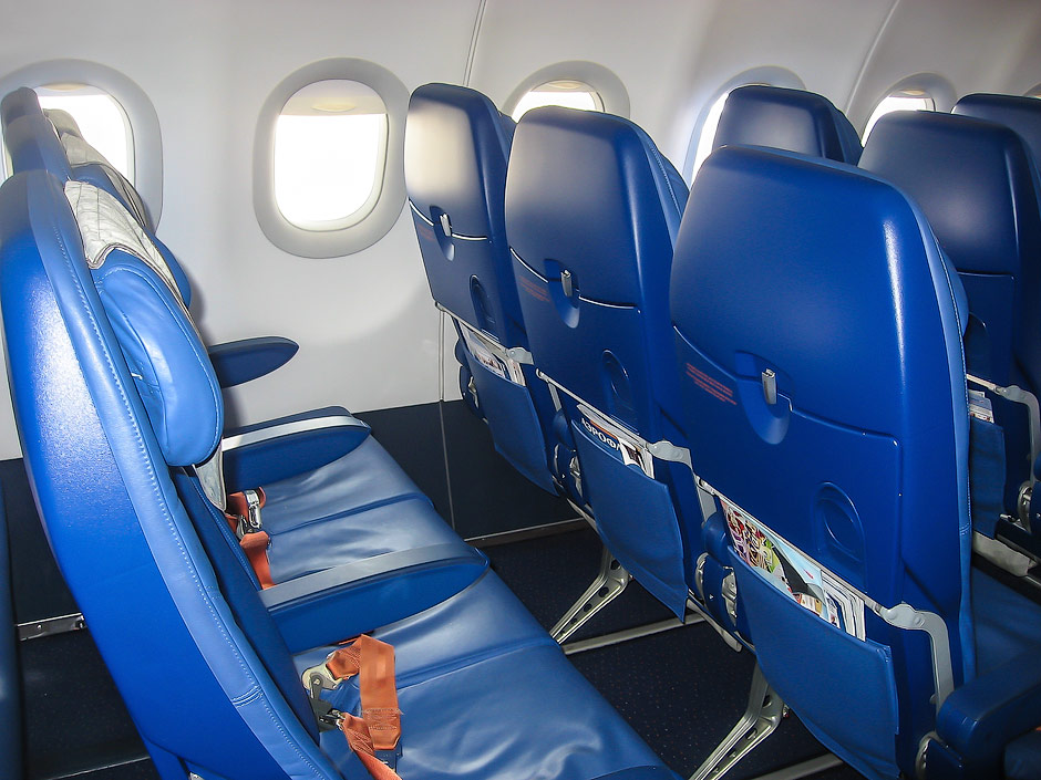 Economy class cabin in an Aeroflot Airbus A321