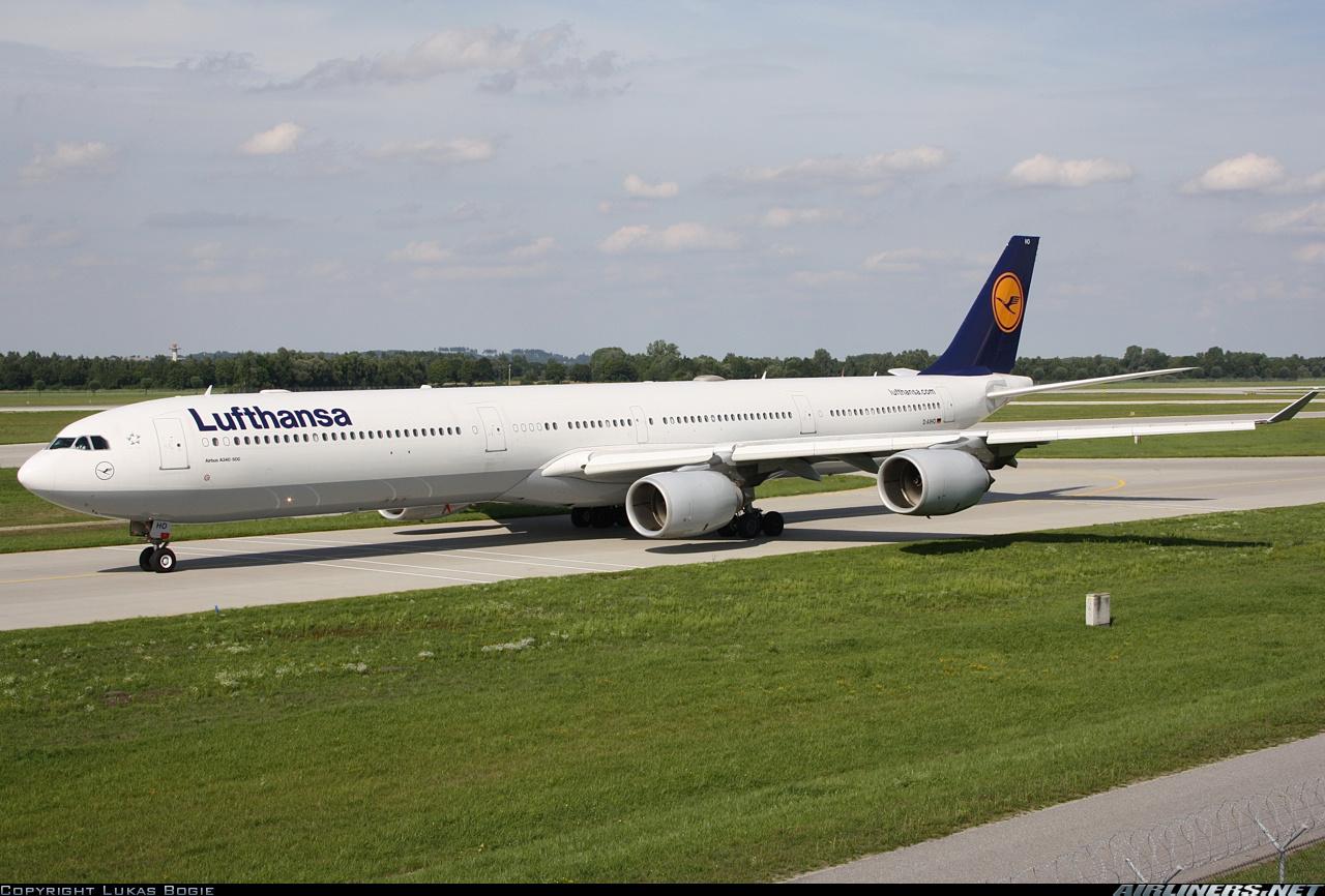 Самолет Airbus A340-600 авиакомпании Люфтганза