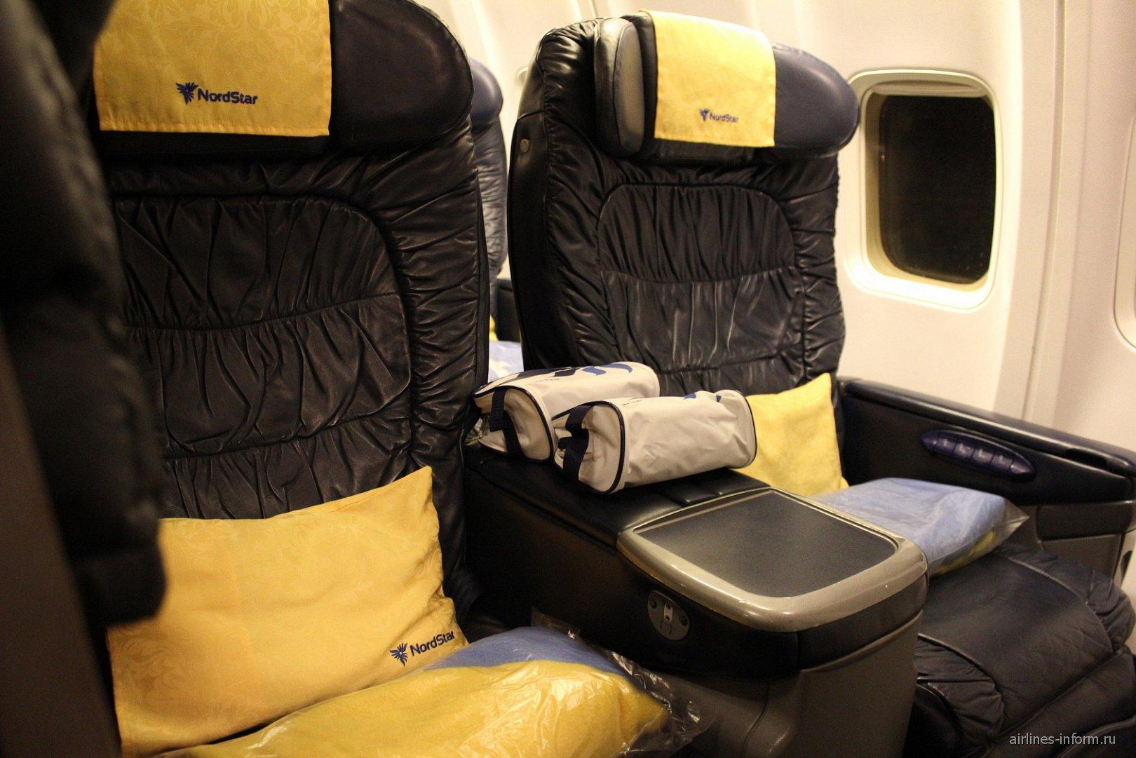 Бизнес-класс в самолете Боинг-737-800 авиакомпании NordStar