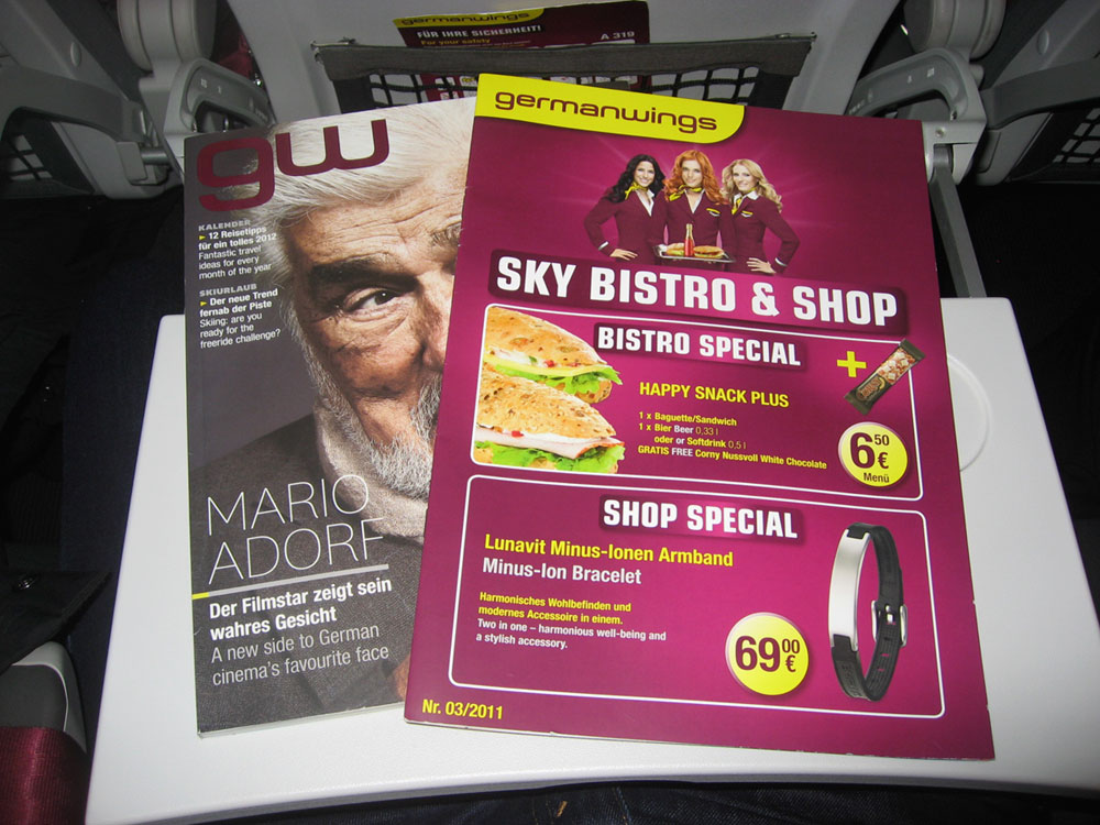 Inflight magazine and menu of Germanwings