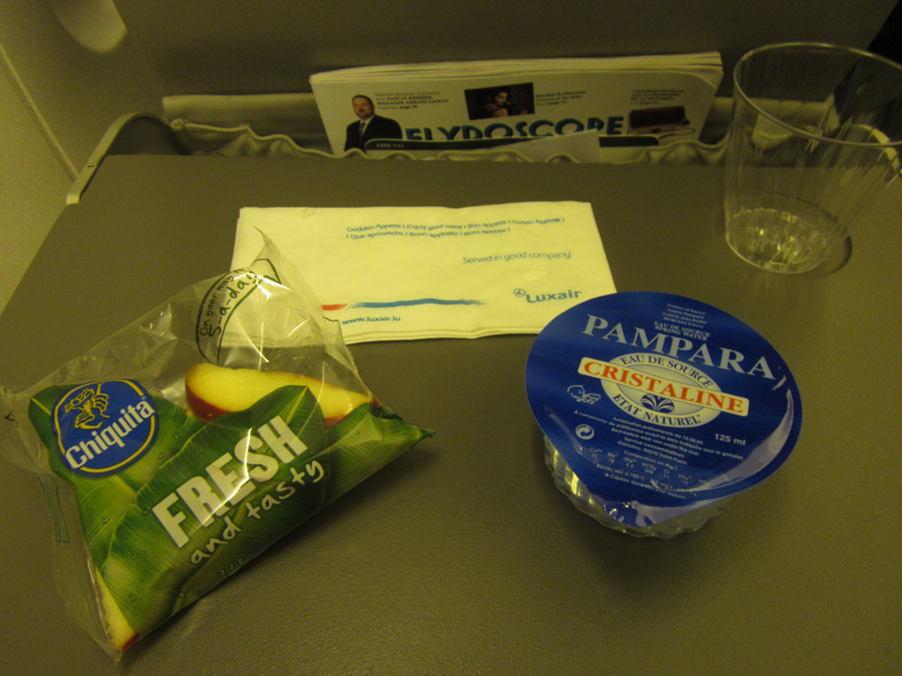Питание на рейсе Франкфурт-Люксембург авиакомпании Luxair