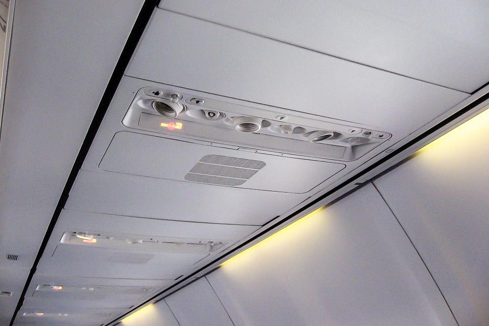 Passenger cabin of KLM Boeing 737-800