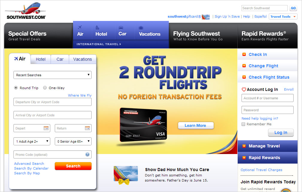 Официальный веб-сайт авиакомпании Southwest Airlines
