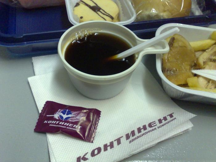 Meal on the flight Moscow-Norilsk