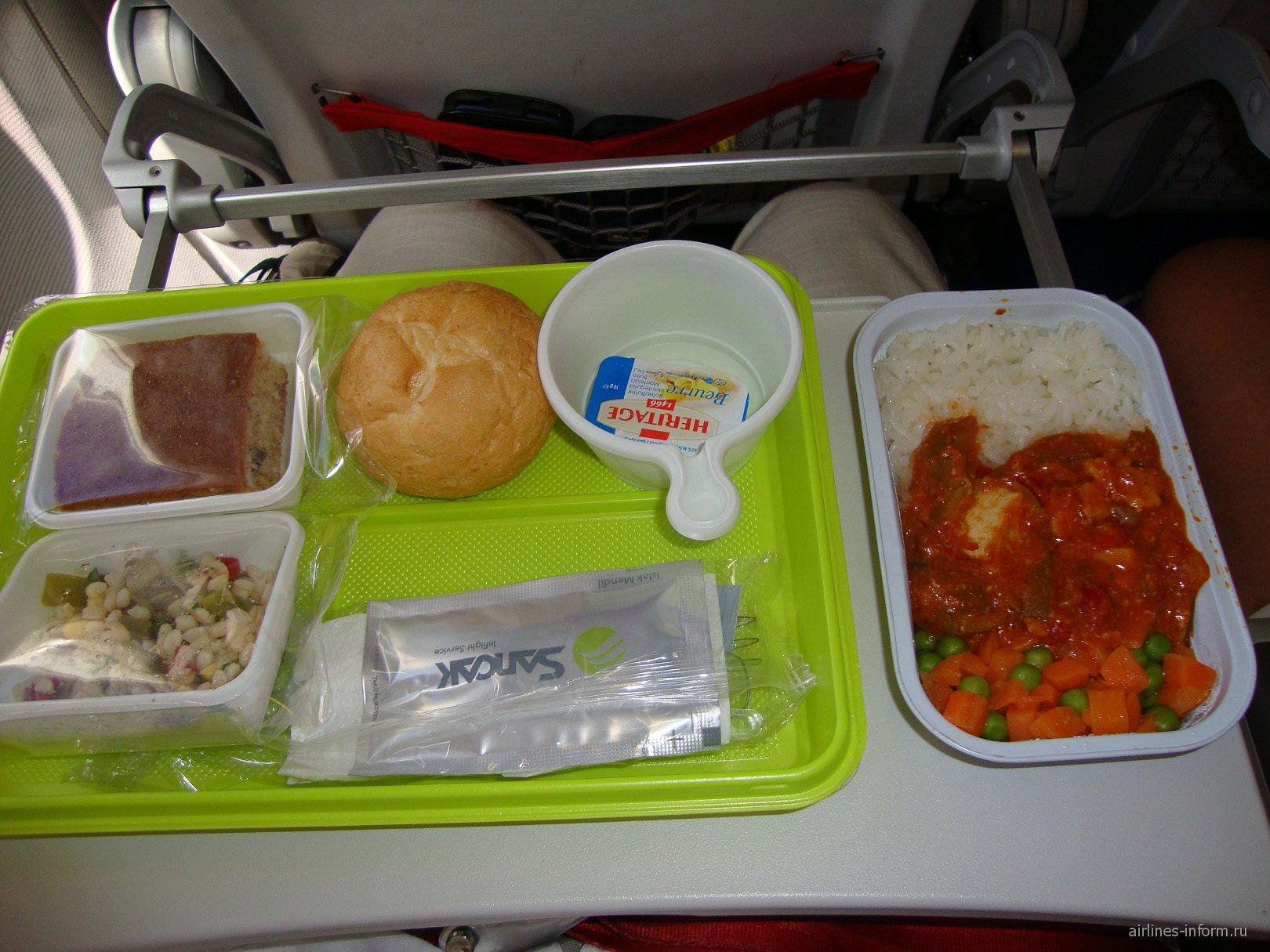 Питание на чартерном рейсе Анталья-Ростов авиакомпании ЮТэйр