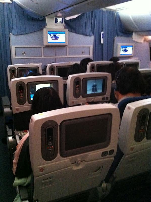 Салон эконом-класса в самолете Боинг-787 авиакомпании ANA