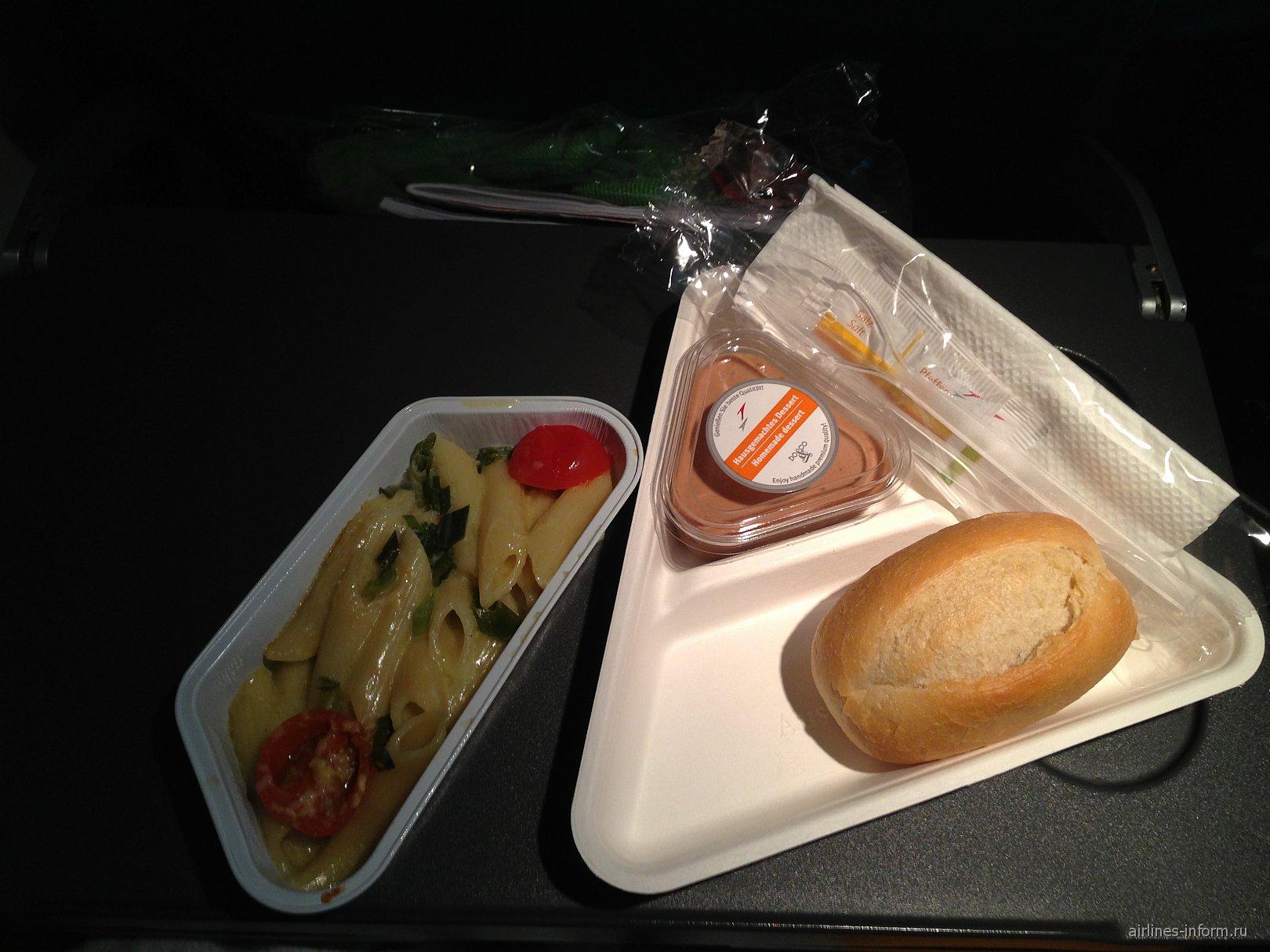 Питание на рейсе Вена-Санкт-Петербург Австрийских авиалиний