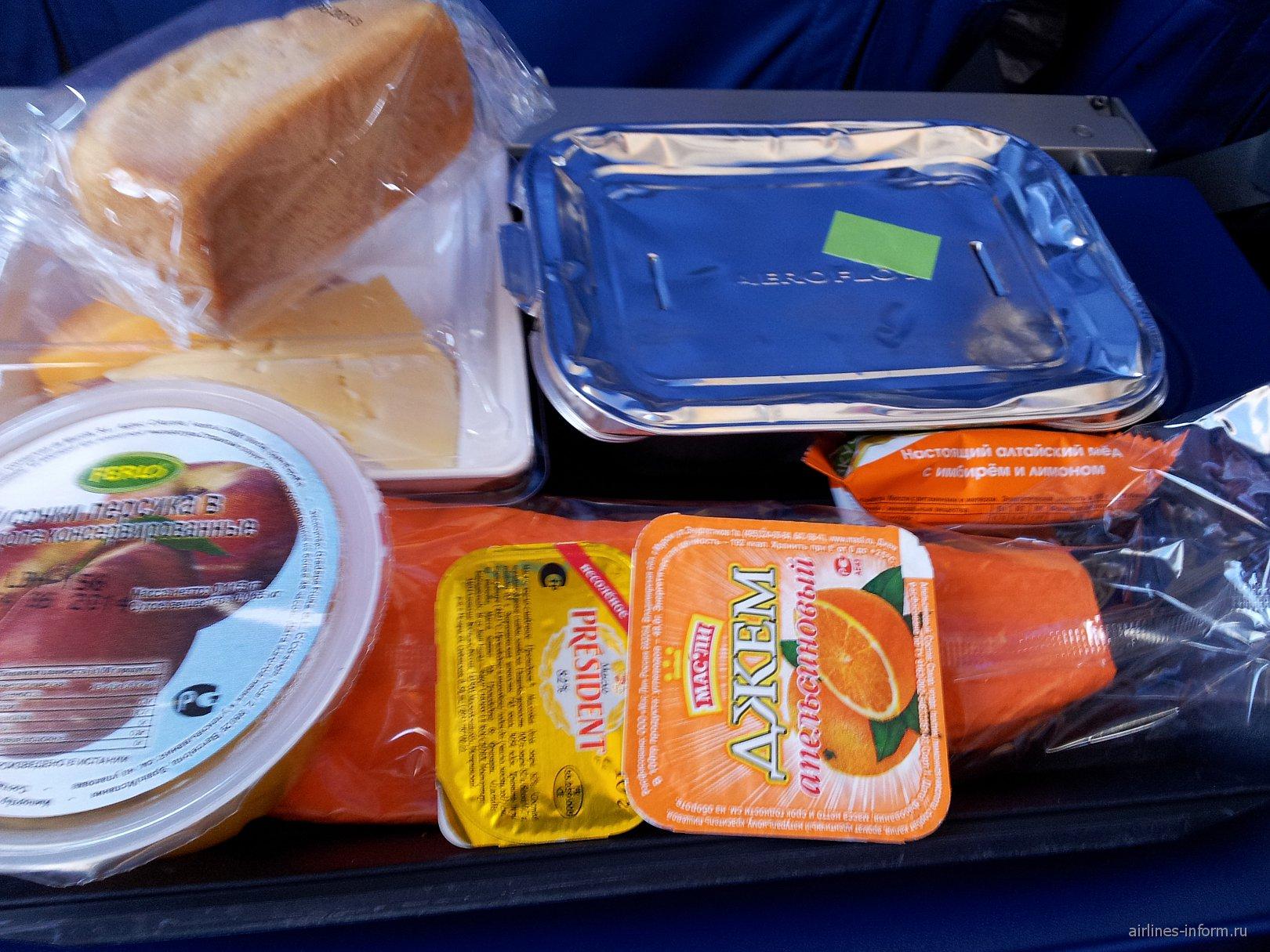 Питание на рейсе авиакомпании Аэрофлот Лондон-Москва