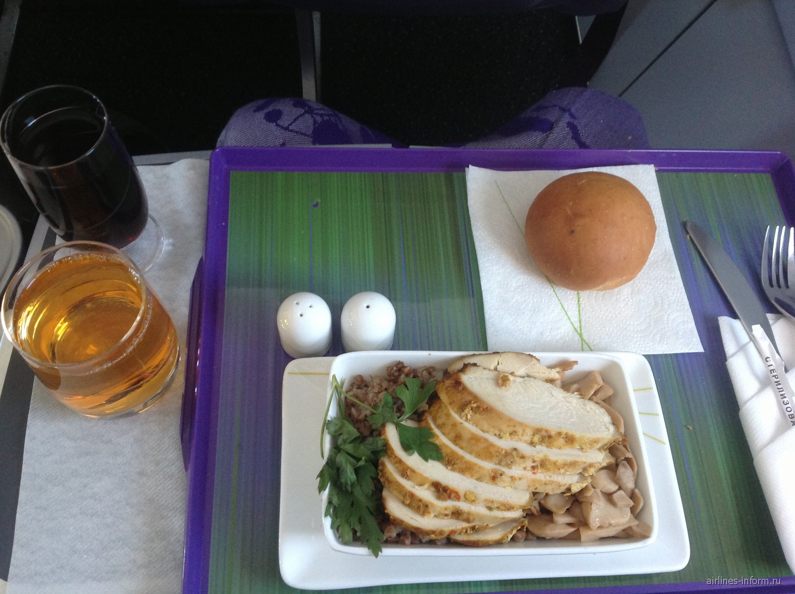 Горячее питание в бизнес-классе S7 Airlines на рейсе Петропавловск-Камчатский-Хабаровск