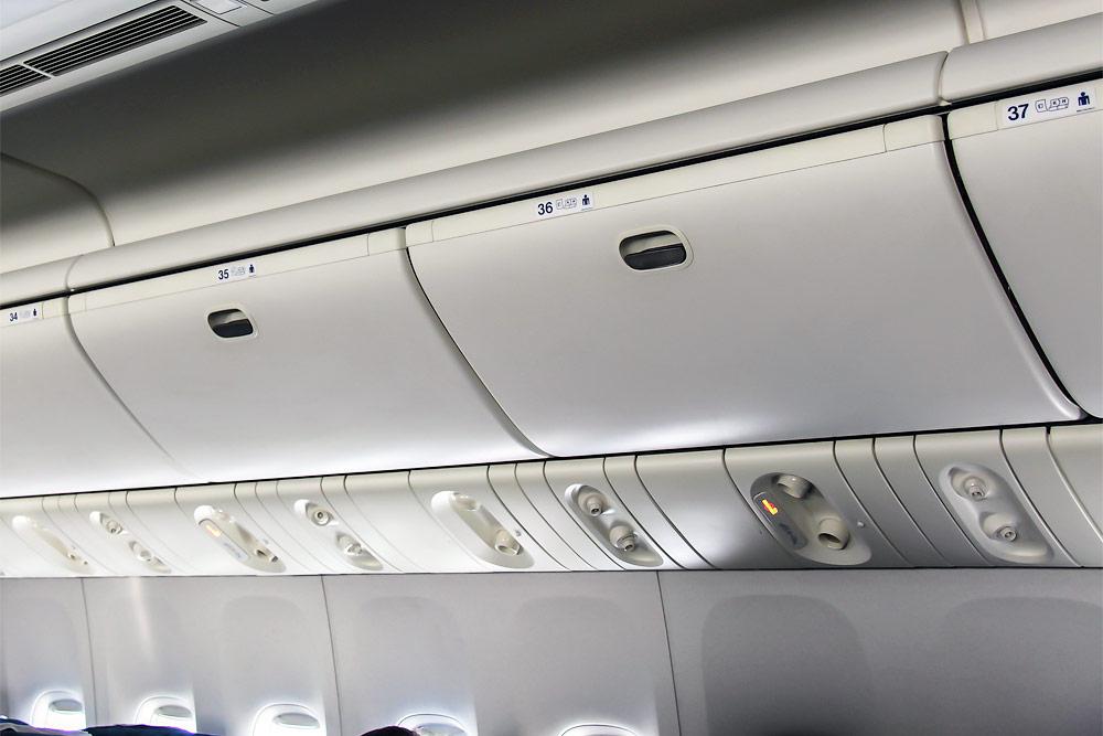 Passenger cabin of a Boeing 777-200 of Transaero