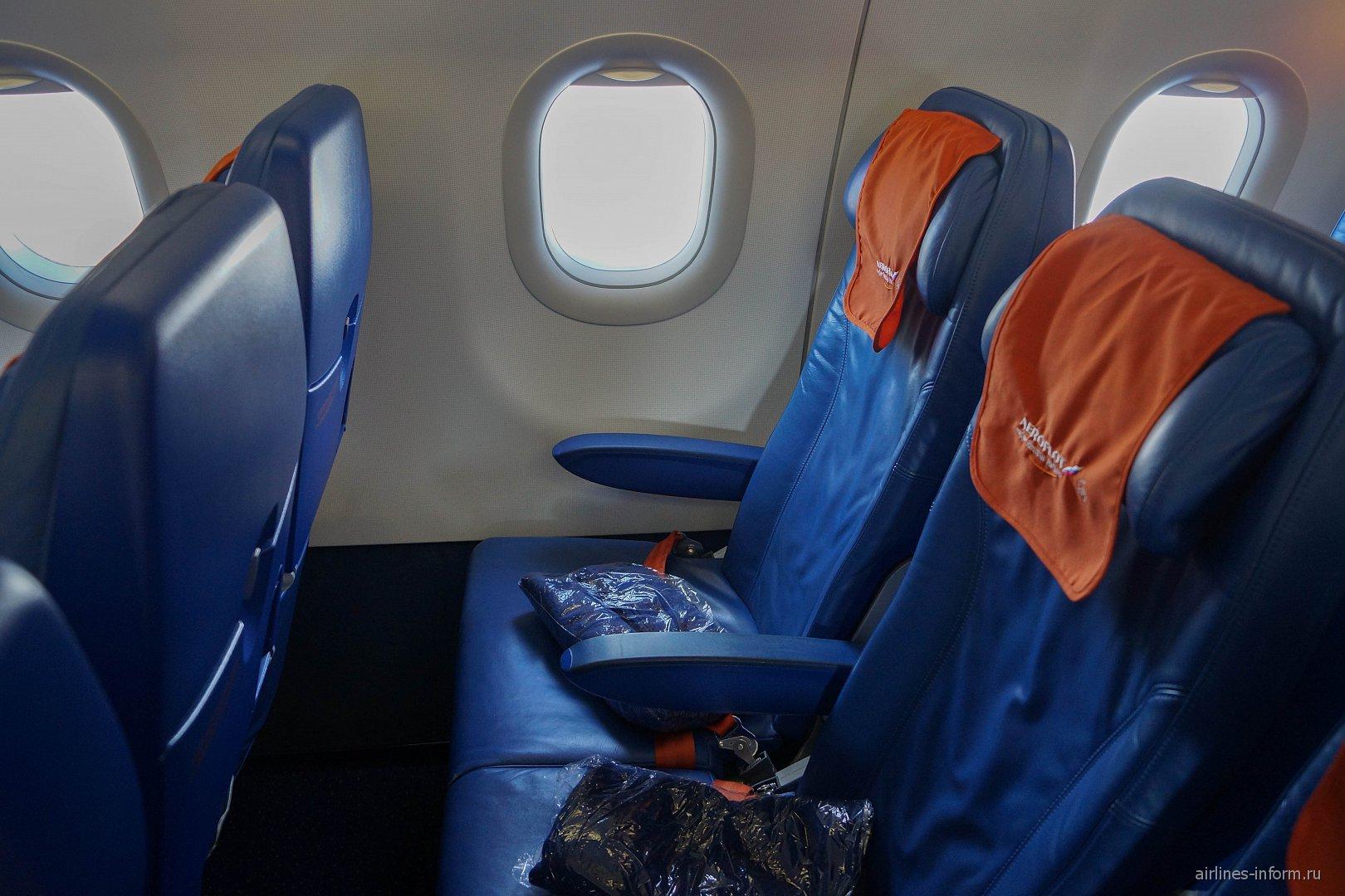 Пассажирские места экономического класса в самолете Airbus A321 Аэрофлота