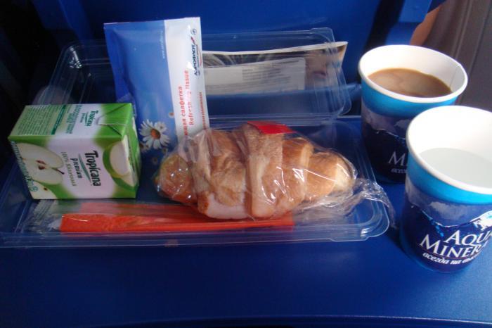 Питание на рейсе Аэрофлота Рига-Москва