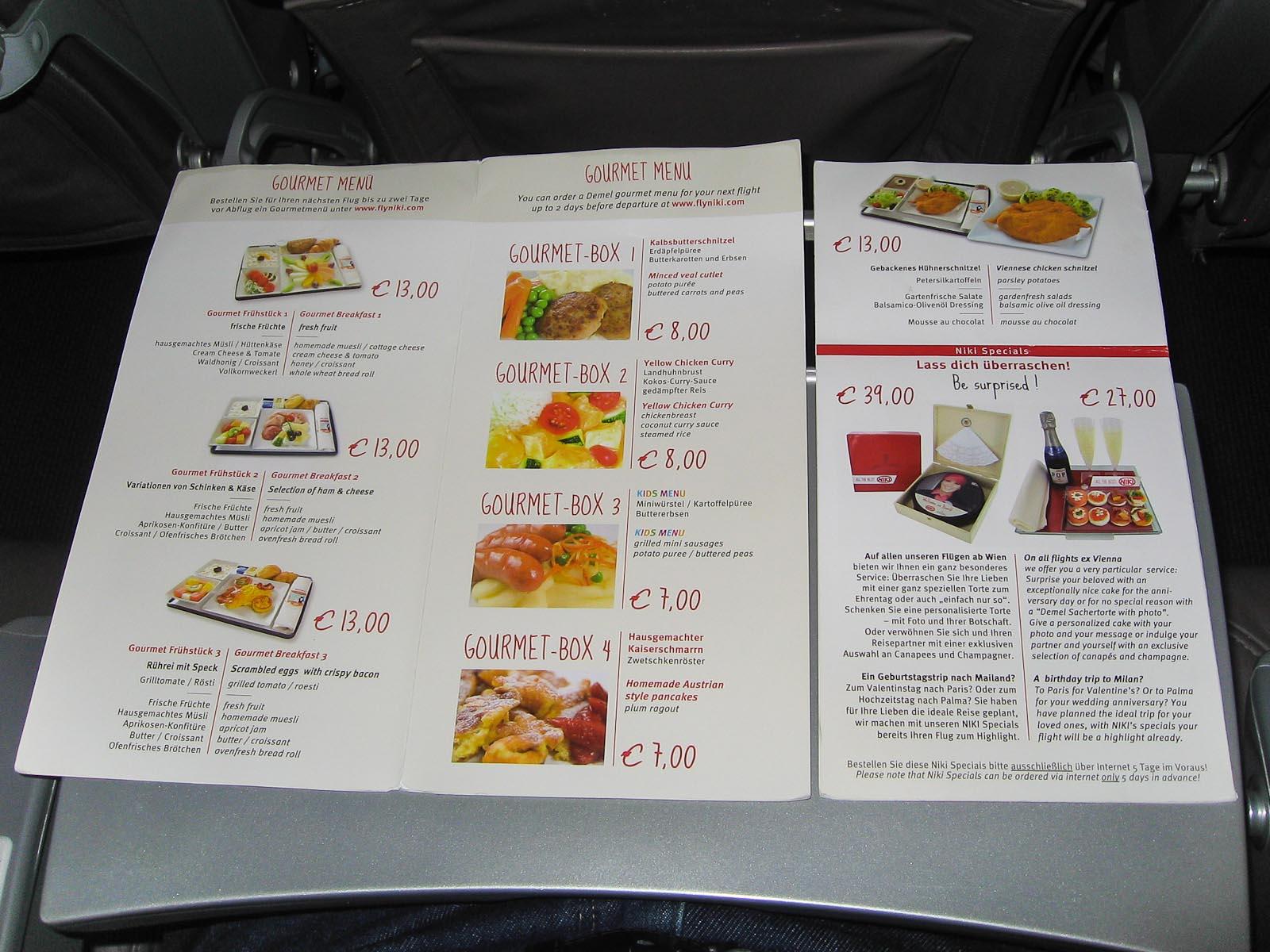 Питание на рейсе Niki Москва-Вена